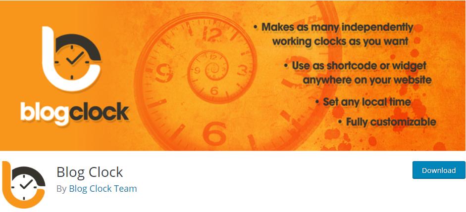 Blog clock wordpress plugin