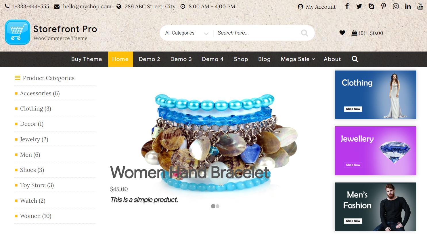 WordPress storefront woocommerce theme
