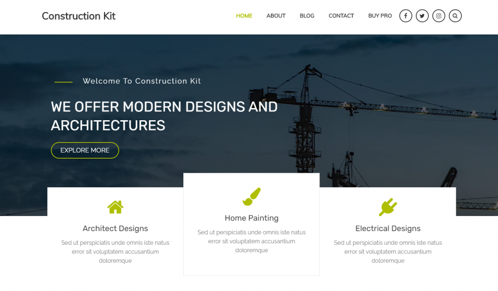 construction kit is a free WordPress theme